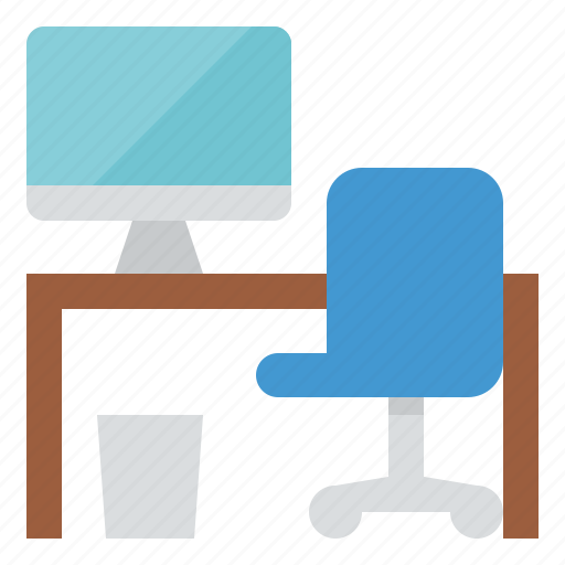 chair, computer, desk, table icon