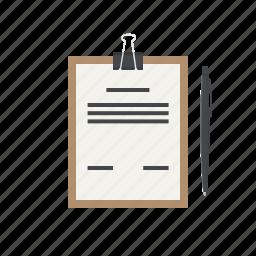 analytics, clipboard, document, pen, report, task, task list icon