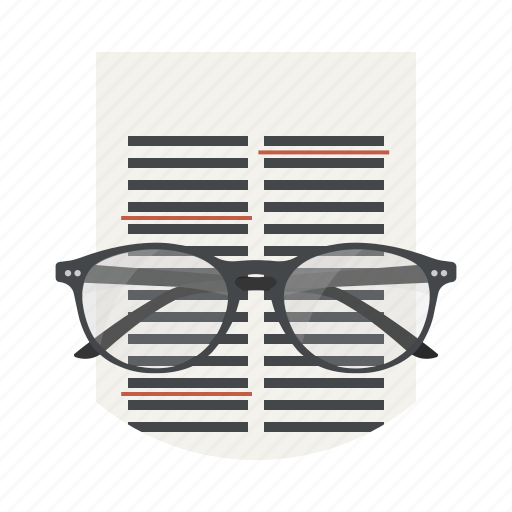 correction, document, edit, editor, file, glasses, page icon