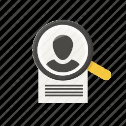 cv, detective, document, file, person, profile, search icon