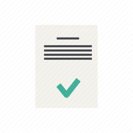 approve, approved, checkmark, data, document, file, text icon