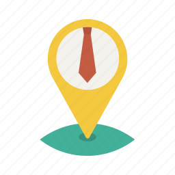 business, location, map, necktie, office, pin, tie icon