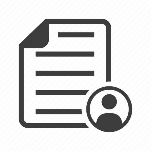 cv, file, resume, user icon