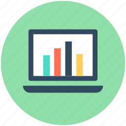 analytics, infographics, laptop, online graph, statistics icon