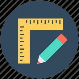 drafting, drawing equipment, drawing tools, pencil, ruler icon