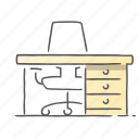 desk, furniture, office, work, workplace icon