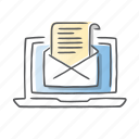 email, laptop, letter, message, newsletter, report icon