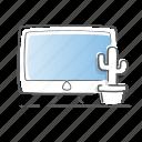 cactus, computer, mac, monitor, office, screen