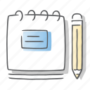 document, notepad, page, pencil, write icon