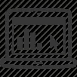analytics, graph, laptop icon