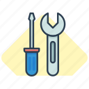screwdriver, settings, work icon, wrench, wrench and screwdriver icon