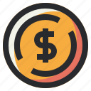 business, coin, dollar, money, office icon