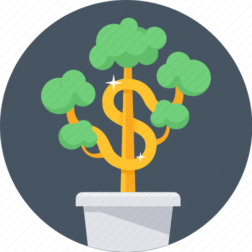 business, cash, earn money, growth, making, money, money plant icon