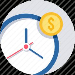 business, clock, coins, finance, money, revenue deadline, time icon