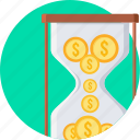 chronometer, hourglass, money, sandtime, time, timer, wait icon
