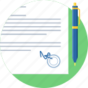 agreement, contract, document, paper, pen, sign, signature