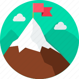 aim, flag, goal, hill, mission, mountain, target icon