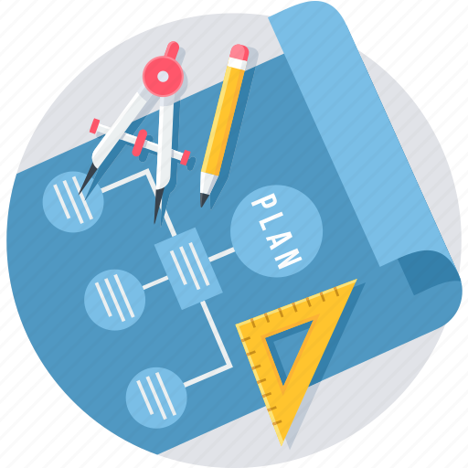 business, design, develope, draw, plan, ruler, stationary icon
