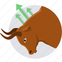 agressive, bullsmarket, market, protest, push market, stock icon