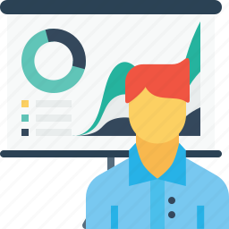 avatar, chart, employee, graph, man, office, presentation icon