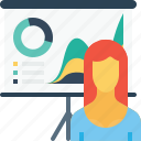 avatar, chart, employee, graph, office, presentation, woman icon
