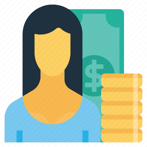 currency, employee, finance, money, office, salary, woman icon