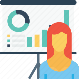 chart, employee, graph, office, presentation, statics, woman icon