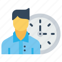 arrival, employee, late, man, management, office, time icon
