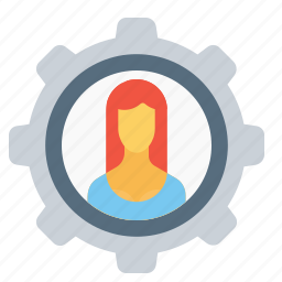 avatar, configuration, employee, gear, office, setting, woman icon