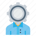 employee, gear, man, office, person, setting, user icon