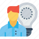 bulb, employee, idea, imagination, man, office, person icon
