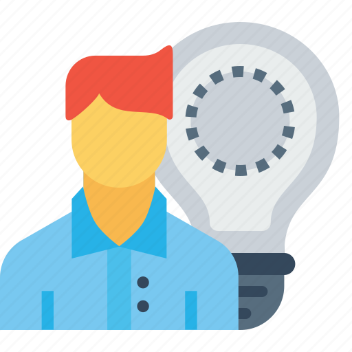 bulb, employee, idea, imagination, man, office, person icon