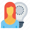 bulb, employee, idea, imagination, office, person, woman icon