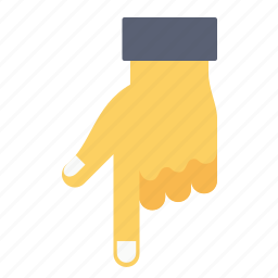 addressing, down, finger, gesture, hand, office, pointing icon