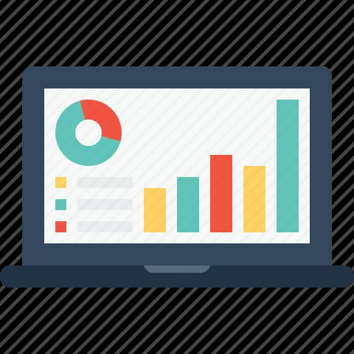 chart, company, computer, graph, laptop, performance, statics icon