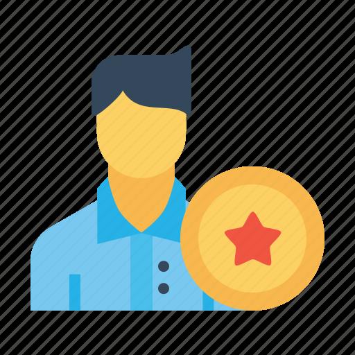 avatar, award, badge, employee, man, office, user icon