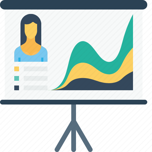 business, chart, employee, growth, office, performance, woman icon