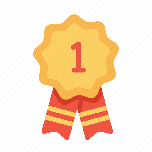 award, badge, first, label, number, one, ribbon, tag icon