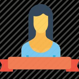 achievement, award, employee, label, office, ribbon, woman icon