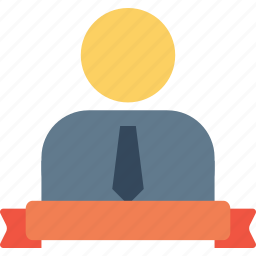 achievement, award, employee, label, man, office, ribbon icon