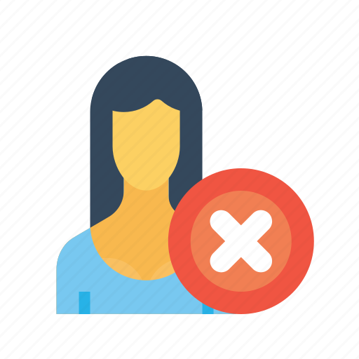 business, close, delete, employee, office, remove, woman icon