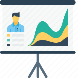 board, chart, employee, growth, man, office, performance icon
