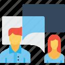 chat, conversation, employee, man, message, office, woman