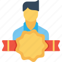 avatar, award, badge, employee, man, office, user icon