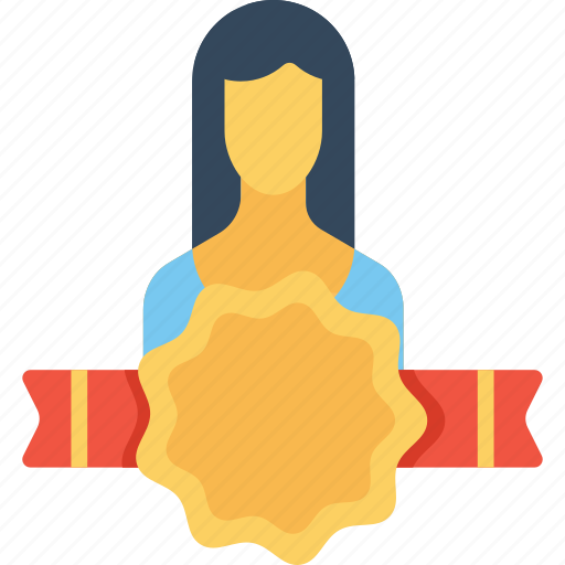 avatar, award, badge, employee, office, user, woman icon