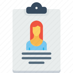 biodata, employee, letterpad, resume, woman, writingpad icon