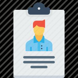 biodata, employee, letterpad, man, resume, writingpad icon