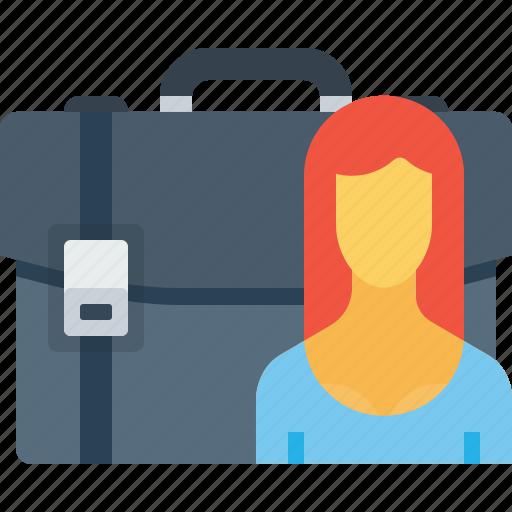 bag, briefcase, carry, case, office, portfolio, woman icon