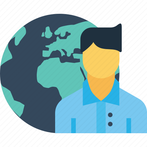 business, earth, employee, globe, man, office, planet icon
