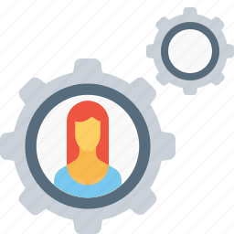 business, config, employee, gear, office, setting, woman icon
